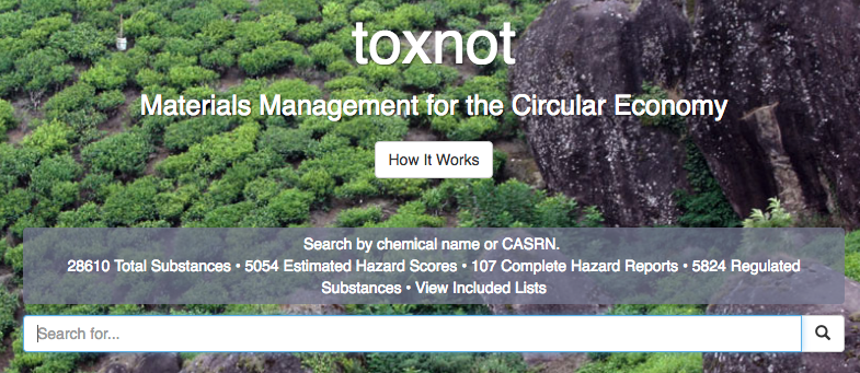 The toxnot homepage offers full featured search.