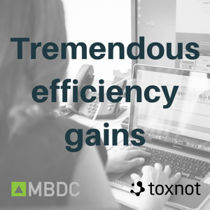 MBDC and Toxnot collaborate, resulting in tremendous efficiency gains