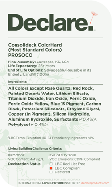 Prosoco Declare label product transparency sustainability